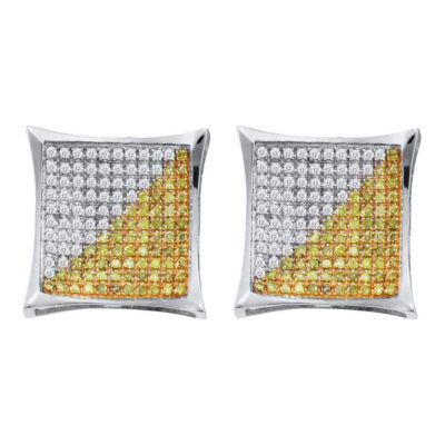 10kt White Gold Mens Round Yellow Color Enhanced Diamond Square Earrings 1/6 Cttw
