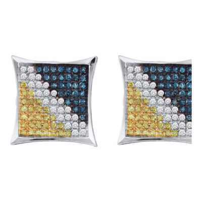 10kt White Gold Mens Round Blue Color Enhanced Diamond Square Earrings 1/4 Cttw
