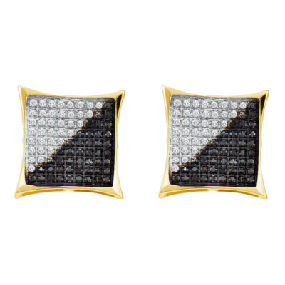 10kt Yellow Gold Mens Round Black Color Enhanced Diamond Square Cluster Earrings 1/10 Cttw