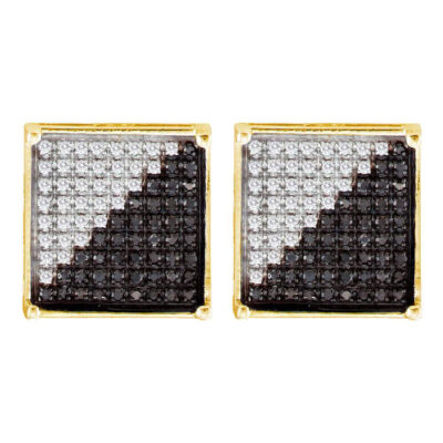 10kt Yellow Gold Mens Round Black Color Enhanced Diamond Square Cluster Earrings 1/3 Cttw