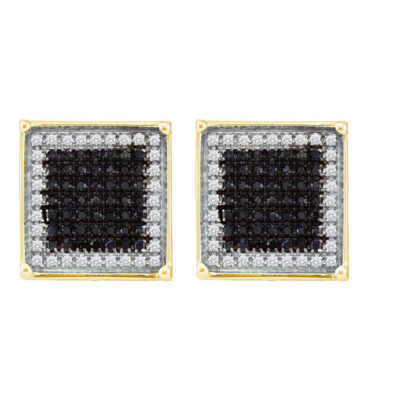10kt Yellow Gold Mens Round Black Color Enhanced Diamond Square Cluster Earrings 1/4 Cttw