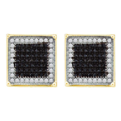 10kt Yellow Gold Mens Round Black Color Enhanced Diamond Square Earrings 1 Cttw