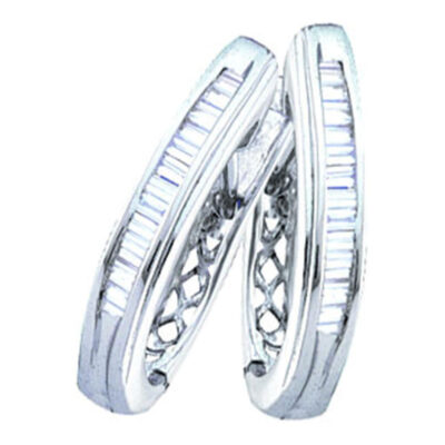10kt White Gold Womens Baguette Channel-set Diamond Hoop Earrings 1/4 Cttw