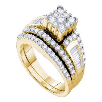 14kt Yellow Gold Round Diamond Bridal Wedding Ring Band Set 1-1/2 Cttw