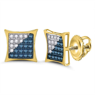 10kt Yellow Gold Mens Round Blue Color Enhanced Diamond Square Kite Cluster Earrings 1/6 Cttw