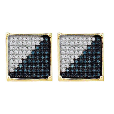 10kt Yellow Gold Mens Round Blue Color Enhanced Diamond Square Cluster Earrings 1/6 Cttw