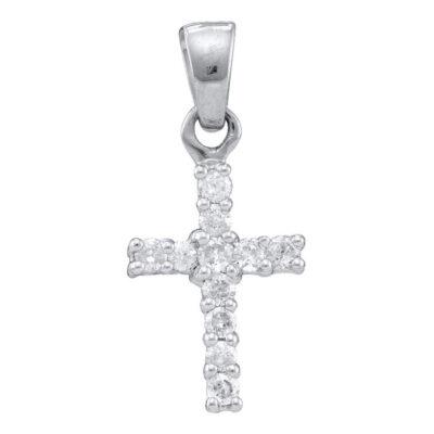 10kt White Gold Womens Round Diamond Cross Pendant 1/4 Cttw