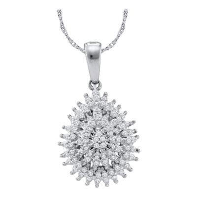 10kt White Gold Womens Round Diamond Teardrop Cluster Pendant 1/4 Cttw