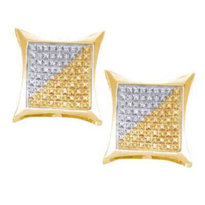 Yellow-tone Sterling Silver Mens Round Color Enhanced Diamond Square Kite Earrings 1/4 Cttw