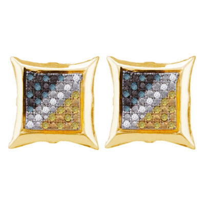 Yellow-tone Sterling Silver Mens Blue Color Enhanced Diamond Square Earrings 1/6 Cttw