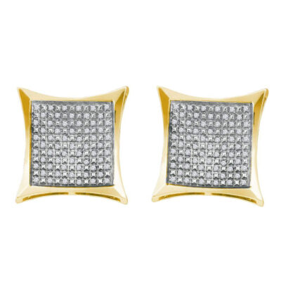 Yellow-tone Sterling Silver Womens Round Diamond Square Kite Earrings 1/3 Cttw