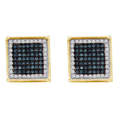 10kt Yellow Gold Mens Round Blue Color Enhanced Diamond Square Cluster Earrings 1/3 Cttw