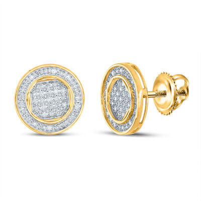 10kt Yellow Gold Mens Round Diamond Circle Earrings 1/4 Cttw