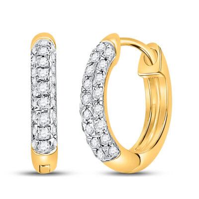 10kt Yellow Gold Womens Round Diamond Hoop Earrings 1/6 Cttw