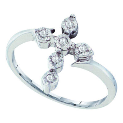 Sterling Silver Womens Round Diamond Cross Fashion Ring 1/20 Cttw