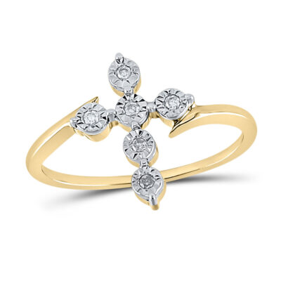 Yellow-tone Sterling Silver Womens Round Diamond Cross Fashion Ring 1/20 Cttw