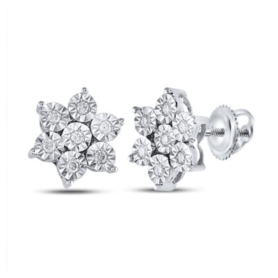 Sterling Silver Womens Round Diamond Cluster Earrings 1/8 Cttw