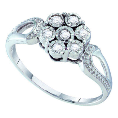 Sterling Silver Womens Round Diamond Illusion-set Flower Cluster Ring 1/8 Cttw