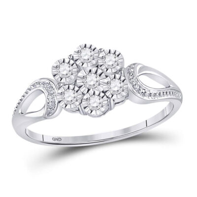 Sterling Silver Womens Round Diamond Flower Cluster Ring 1/10 Cttw