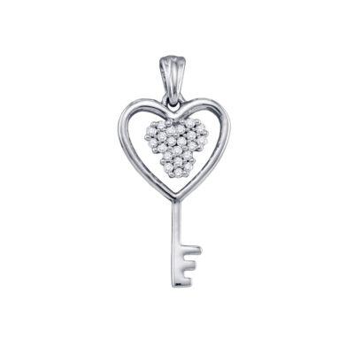 10kt White Gold Womens Round Diamond Cluster Key Heart Pendant 1/12 Cttw