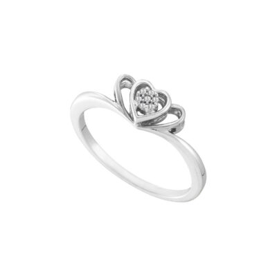 10kt Two-tone Gold Womens Round Diamond Heart Ring .02 Cttw