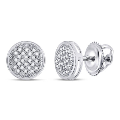 Sterling Silver Womens Round Diamond Circle Earrings 1/6 Cttw