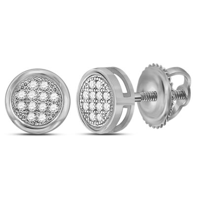 Sterling Silver Womens Round Diamond Circle Cluster Earrings 1/20 Cttw