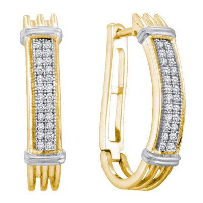 Yellow-tone Sterling Silver Womens Round Diamond Oblong Hoop Earrings 1/6 Cttw