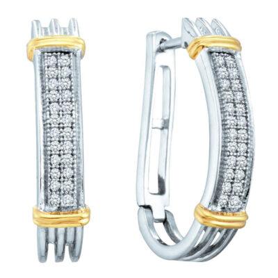 Two-tone Sterling Silver Womens Round Diamond Oblong Hoop Earrings 1/6 Cttw