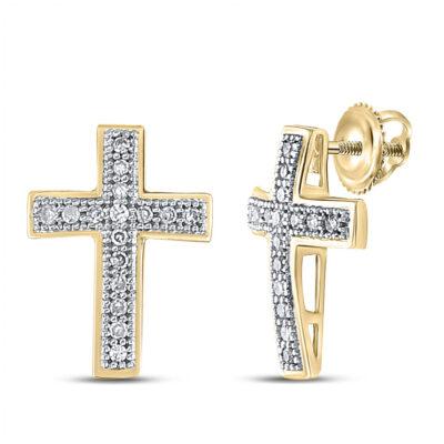 Yellow-tone Sterling Silver Womens Round Diamond Cross Earrings 1/10 Cttw