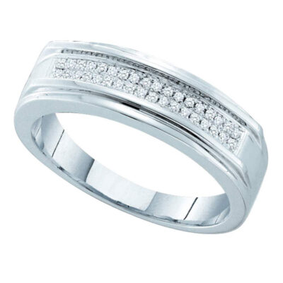 Sterling Silver Mens Round Diamond Band Ring 1/8 Cttw