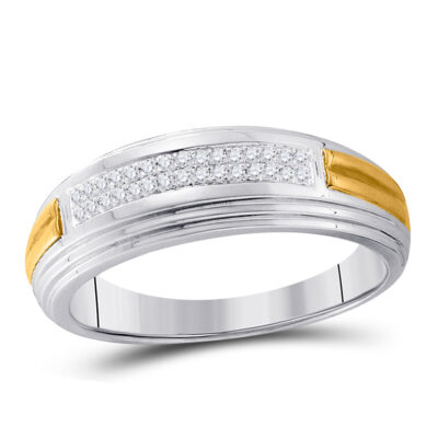 Sterling Silver Mens Round Diamond Wedding Band Ring 1/10 Cttw