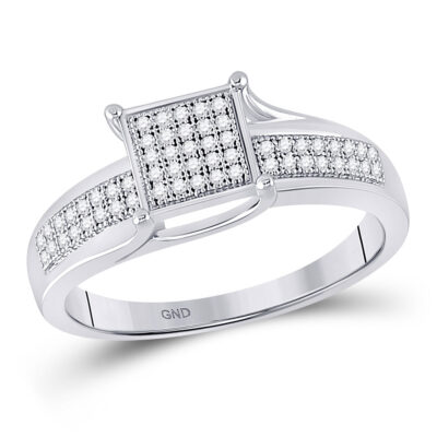Sterling Silver Womens Round Diamond Square Cluster Ring 1/6 Cttw