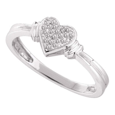 Sterling Silver Womens Round Diamond Heart Ring 1/12 Cttw
