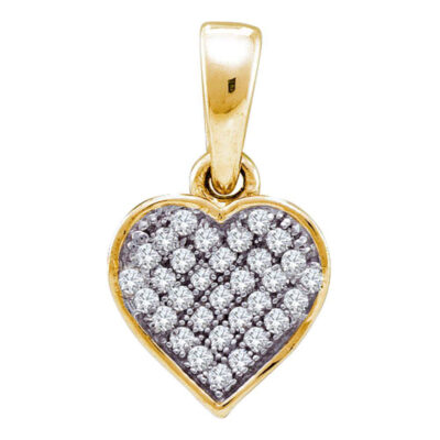 Yellow-tone Sterling Silver Womens Round Diamond Heart Pendant 1/10 Cttw