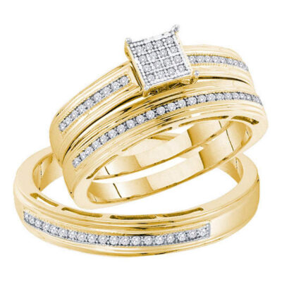 Yellow-tone Sterling Silver His Hers Diamond Square Matching Wedding Set 1/4 Cttw