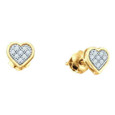 Yellow-tone Sterling Silver Womens Round Diamond Heart Earrings 1/20 Cttw