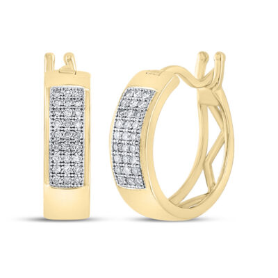 Yellow-tone Sterling Silver Womens Round Diamond Huggie Earrings 1/6 Cttw