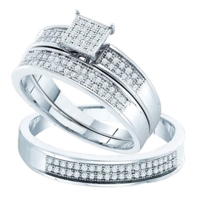Sterling Silver His Hers Round Diamond Cluster Matching Wedding Set 1/3 Cttw