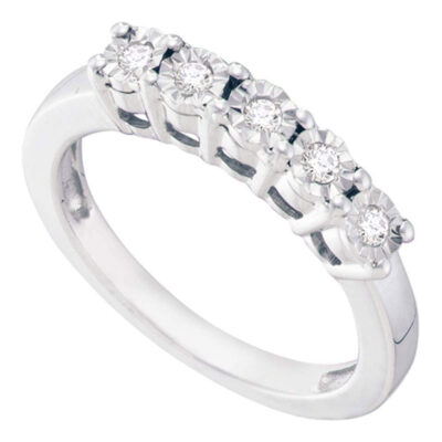 Sterling Silver Womens Round Diamond 5-stone Ring 1/6 Cttw