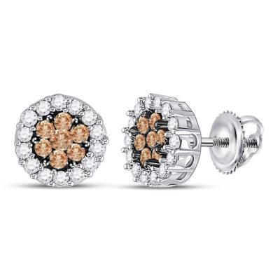 14kt White Gold Womens Round Brown Diamond Flower Cluster Earrings 3/4 Cttw