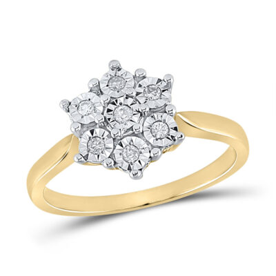 Yellow-tone Sterling Silver Womens Round Diamond Illusion-set Flower Cluster Ring 1/10 Cttw
