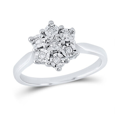 Sterling Silver Womens Round Diamond Illusion-set Flower Cluster Ring 1/10 Cttw