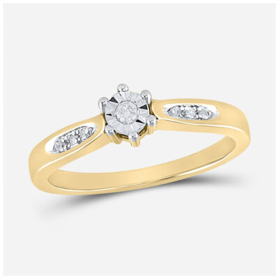 Yellow-tone Sterling Silver Round Diamond Solitaire Bridal Wedding Engagement Ring