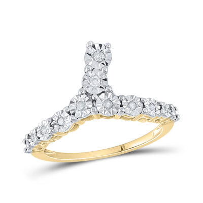 Yellow-tone Sterling Silver Womens Round Diamond Fashion Ring 1/10 Cttw