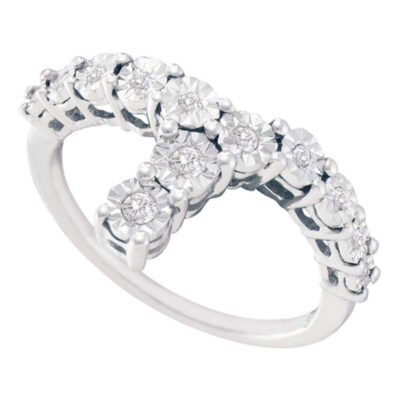 Sterling Silver Womens Round Diamond Fashion Ring 1/10 Cttw