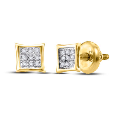 Yellow-tone Sterling Silver Unisex Round Diamond Kite Square  Earrings 1/20 Cttw