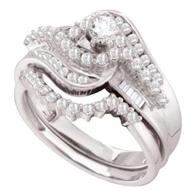 10kt White Gold Diamond Round Bridal Wedding Ring Band Set 1 Cttw