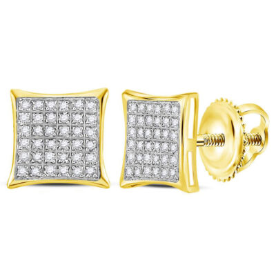 Yellow-tone Sterling Silver Womens Round Diamond Kite Square Earrings 1/4 Cttw