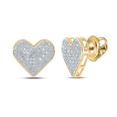 Yellow-tone Sterling Silver Womens Round Diamond Heart Earrings 1/4 Cttw